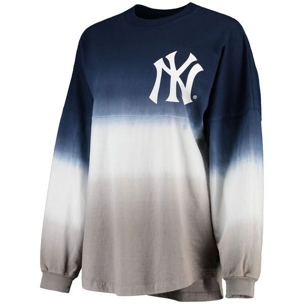 Women's New York Yankees Navy Oversized Long Sleeve Ombre Spirit... (20.770 HUF) ❤ liked on Polyvore featuring tops, t-shirts, jersey tee, new york yankees t shirts, mlb t shirts, navy blue long sleeve t shirt and long sleeve tops
