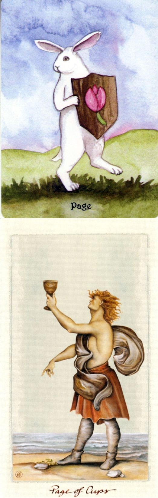 Page of Cups: appy surprise and immaturity (reverse). Rabbit Tarot deck and Pagan Otherworlds Tarot deck: tarot psychic, tarot prediction and tarot reading. New fortune telling and psychic readings free. #pods #pentagram #android