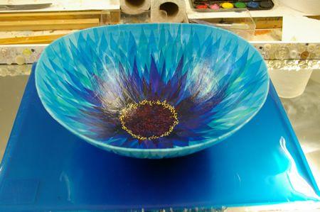 Blue Papier Mache Bowl.very nice work
