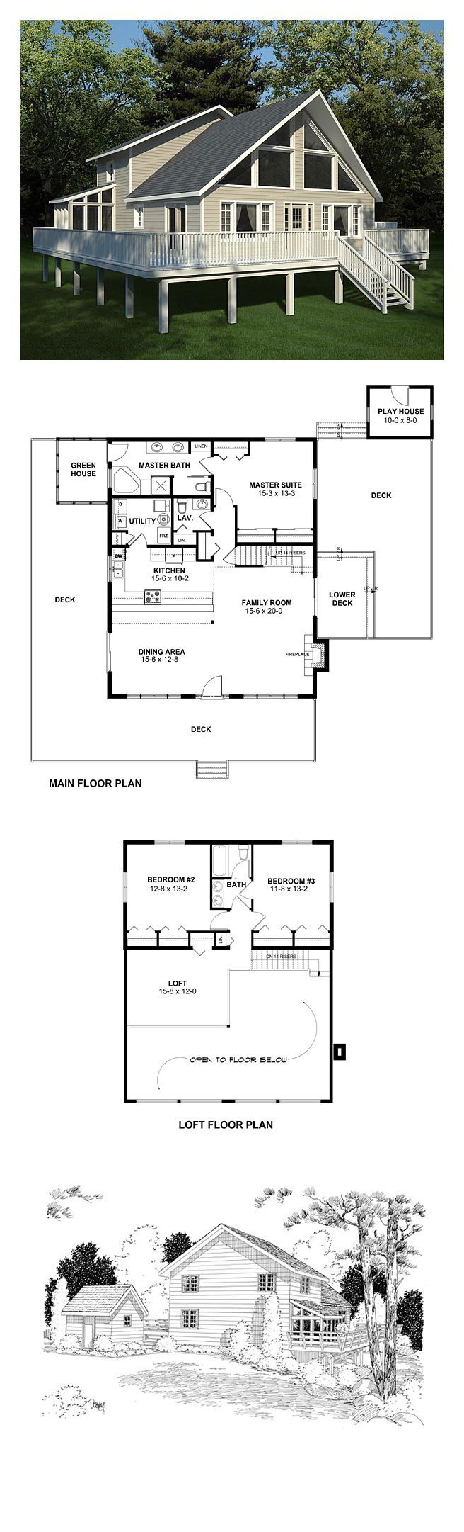 Contemporary House Plan 10515   Total Living Area: 2044 sq. ft., 3 bedrooms & 2.5 bathrooms. The dining and family rooms are completely open to eac… …