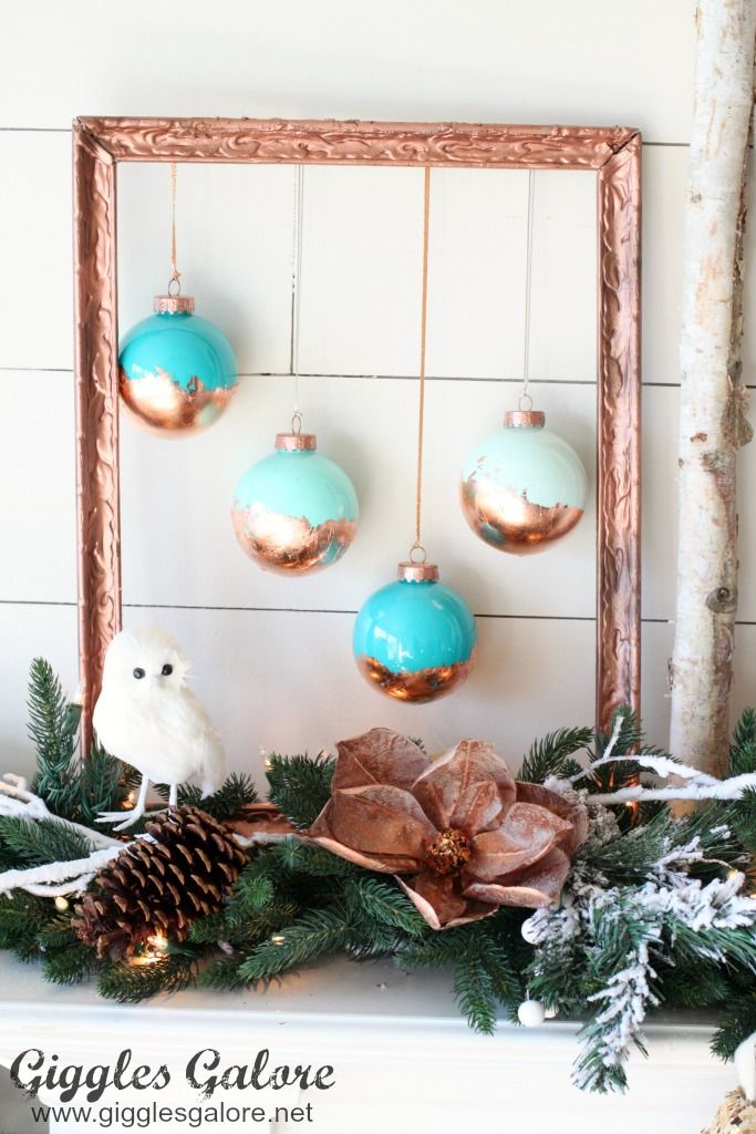 DIY Painted Copper Leaf Christmas Ornaments Christmas