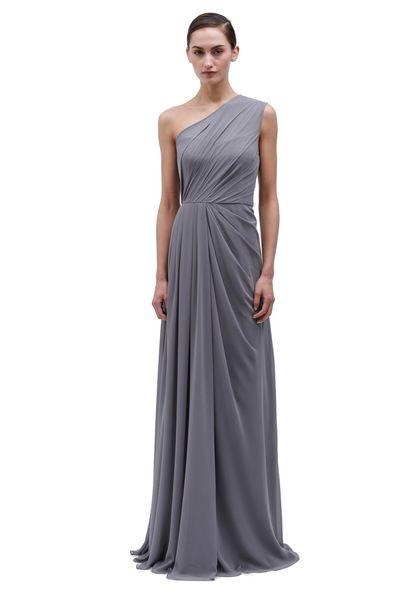 Monique Lhuillier - Slate one shoulder chiffon gown with side drape - http://www.moniquelhuillier.com/collections/tags/wedding/bridesmaids/spring-summer-2014/content