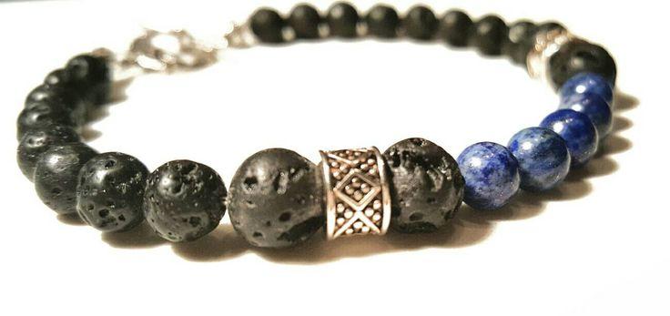 Bracelet bijoux mala boho perle yoga lapis lazuli pierre de lave homme femme