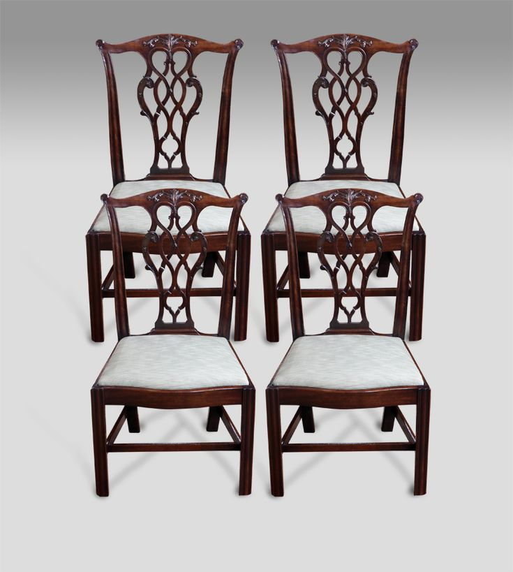 Antique dining chairs set of four chippendale period for Dining room head chairs