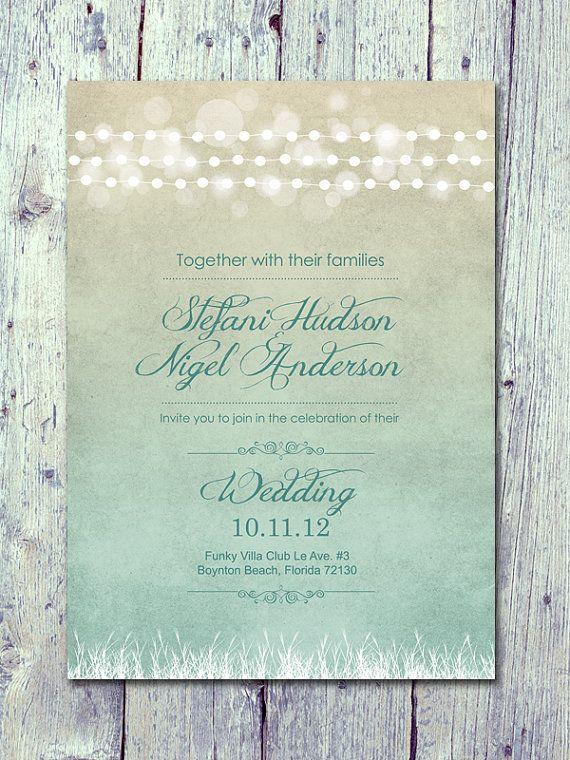 Digital - Printable Files- Shade - Romantic Light Garland Wedding Invitation and Reply Card Set - Wedding Stationery - ID127GR