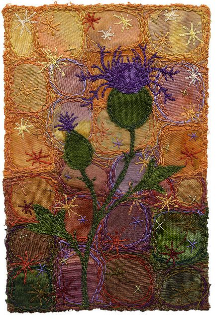 "Knapweed 2 Warm rich colours to welcome autumn. 3"" x 4 ½"" 9"" x 11"" framed SOLD www.chursinoff.com/kirsten/"