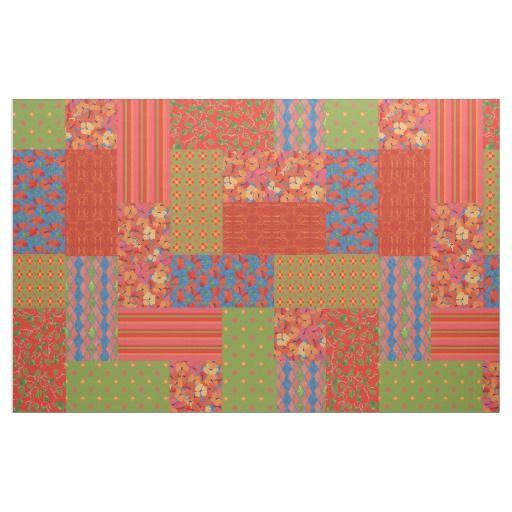 Poppy Fields Patterns Faux Patchwork Fabric: up to $27.95 per yard - http://www.zazzle.com/poppy_fields_patterns_faux_patchwork_fabric-256984608757155252?rf=238041988035411422&tc=pintw