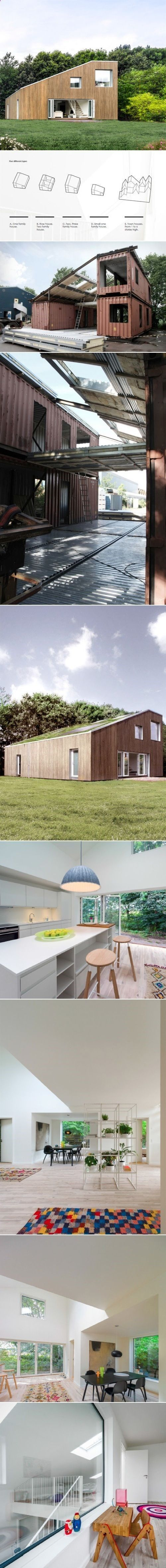 Container House - 3x Shipping Container Home. This two-story recycled shipping container building only needs three equal modular containers to create the basic platform for a modern house: a steel structure unites the three split parts – two on the ground floor and the other above one of them – completing the rest of the surfaces with prefab steel panels. - Who Else Wants Simple Step-By-Step Plans To Design And Build A Container Home From Scratch?