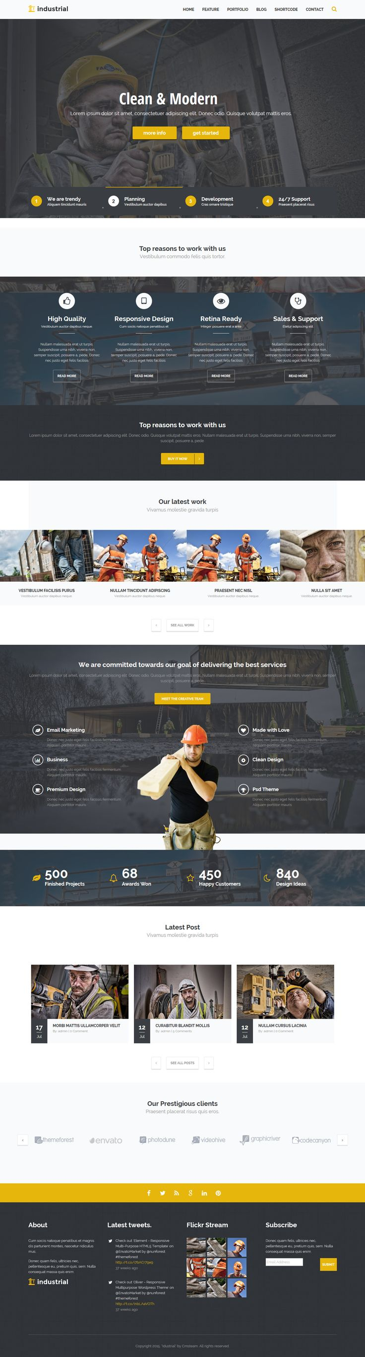 Industrial - Construction & Industry WordPress Theme #webdesign #website Download: http://themeforest.net/item/industrial-construction-industry-wp-theme/12168563?ref=ksioks