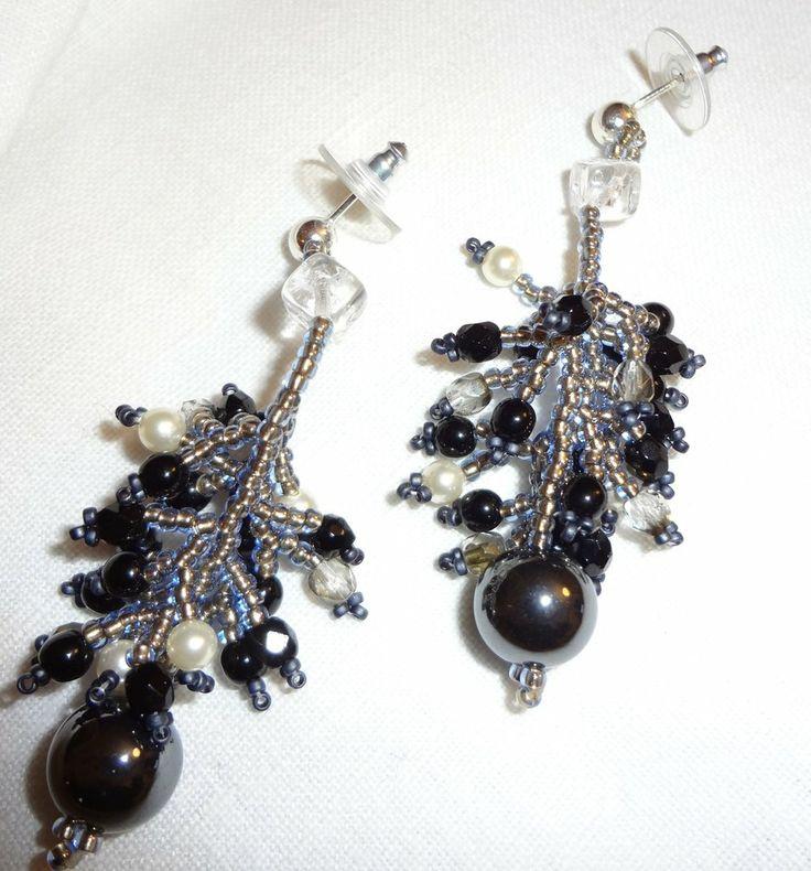 orecchini pendenti a grappolo con perline Miyuki cristalli e perline Swarovski, by carla e tere gioielli, 18,00 € su misshobby.com