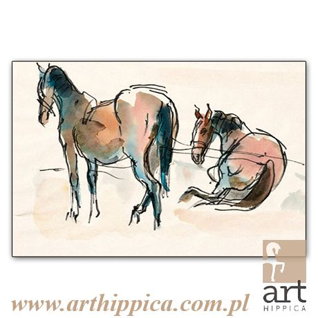 Horse - Painting - Holler Josef | ODPOCZYNEK |  A painting by Josef Holler. Signature: Josef Holler; Technique: watercolor; Dimensions: 30 x 21 cm; Exhibitions: Czech Parliament, Millennium gallery – Prague.