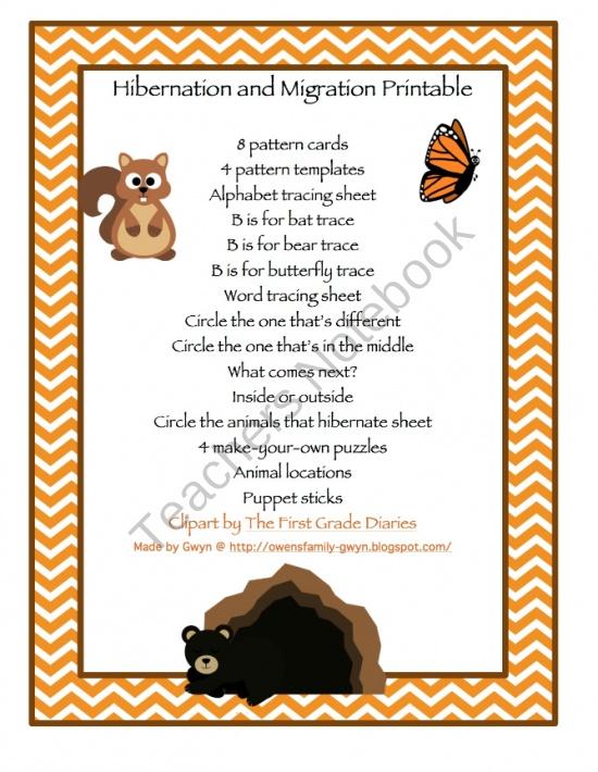 hibernation and migration printable product from preschool printable on. Black Bedroom Furniture Sets. Home Design Ideas