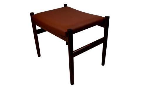 A rosewood ottoman upholstered with brown aniline leather, Spøttrup