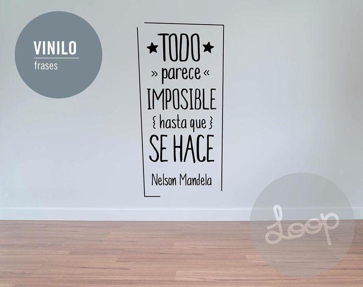 """0 Me gusta, 1 comentarios - Cosas Lindas Loop (@cosaslindasloop) en Instagram: """"#vinilo """"Todo parece imposible hasta que se hace"""" Nelson Mandela {30 x 60 cm} + Info en…"""""""
