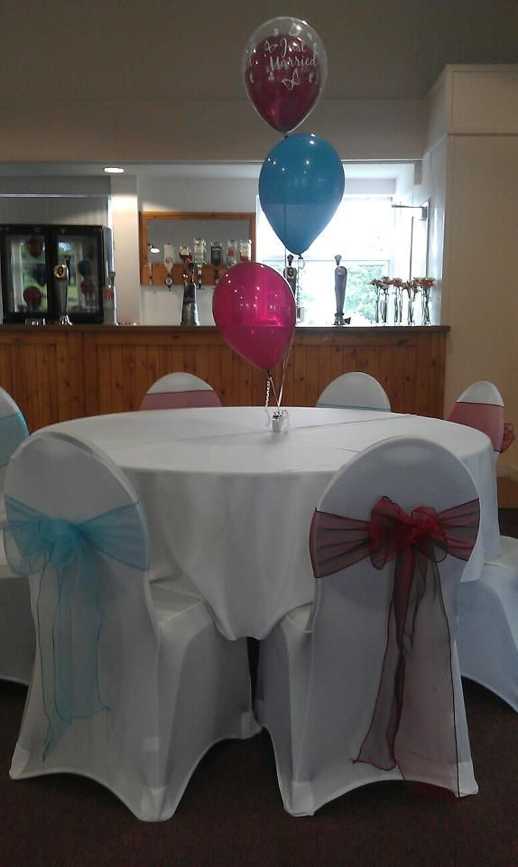 Wedding Chair Covers and Balloon table display, West Ham colours, Windmill golf centre, Milton Keynes