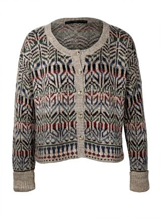 Motifs from an Indonesian ceremonial cloth pattern the cropped, boxy cardigan. Fair Isle knit with drop shoulders and ribbed turn-back cuffs in muted jeweltones of pima (37%), baby alpaca (33%), nylon (27%) and wool (3%).