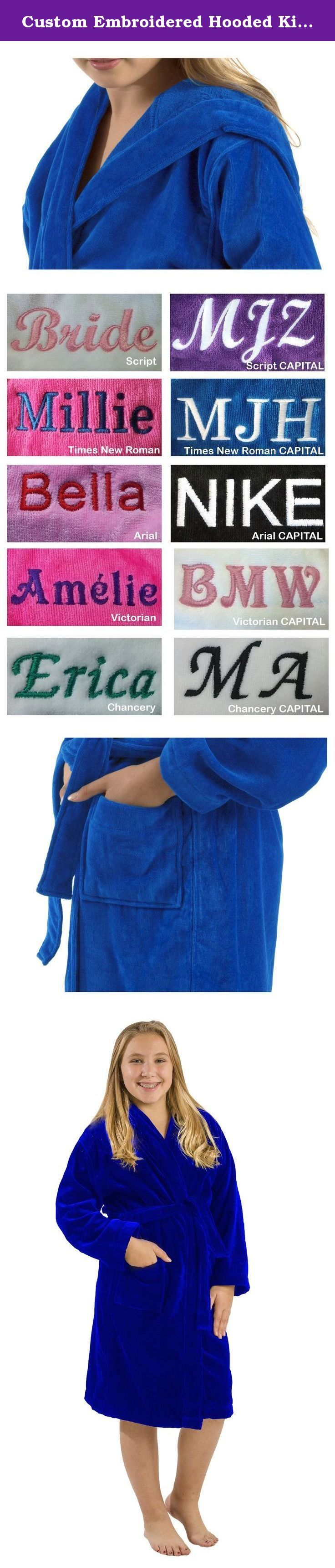 Custom Embroidered Hooded Kids Robes, Royal Blue, SMALL. TERRY VELOUR COTTON HOODED KIDS BATHROBES -Two patch pockets, double stitch for durability. -These kids robes can be used for bath, spa, shower, swimming pool, lounge or sauna. -400 gsm 100% Cotton, 21single/2 ply ring spun yarn loops, triple sheared terry on the outside and loop terry cloth on the inside. -Available Colors: Purple, White, Black,Pink, Fuchsia, Navy, Royal Blue and Red. -Here is the measurement of the Sizes: Hoods…