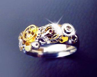 Steampunk ring ring in edelstaal unisex steampunk, horloge versnelling ring, zilver, bronzen en gouden ring, OOAK
