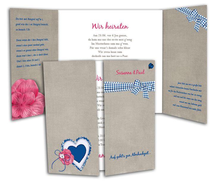 Altarfalz Hochzeitseinladungskarte - Zünftig