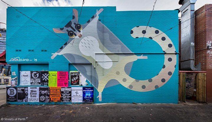 Amok Island (2015): Sugar glider mural, located down Nicks Lane in Chinatown, Northbridge