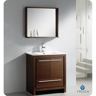 @Overstock - The Fresca 30-inch Allier is a sleek, modern free standing vanity with plenty of storage space. This set is accented nicely with a matching mirror with small shelf with a perfect balance of hues and textures.http://www.overstock.com/Home-Garden/Fresca-Allier-30-inch-Wenge-Brown-Modern-Bathroom-Vanity-with-Mirror/7456471/product.html?CID=214117 $889.99