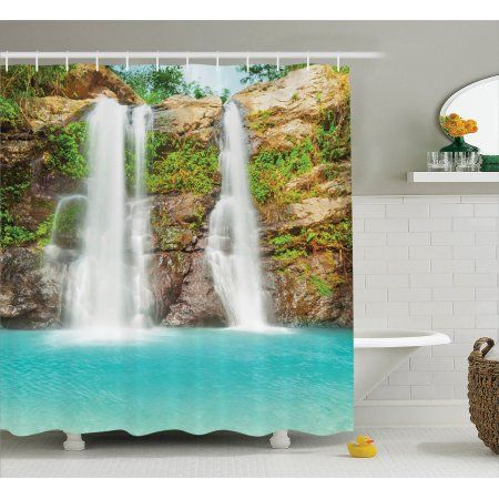 Free Shipping. Buy Rainforest Decorations Shower Curtain Set, Waterfall In Tropic Rainforest Sunny Vacation Fresh Lake Waterscape, Bathroom Accessories, 69W X 70L Inches, Turquoise Green Brown By Ambesonne at Walmart.com