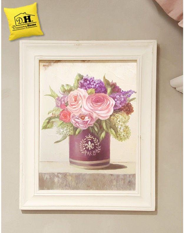 Quadro con cornice vaso fiori shabby chic blanc mariclo for Quadro shabby