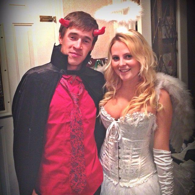 halloween night nash boyfriend girlfriend blonde brunette angel devil - Halloween Costume Brunette