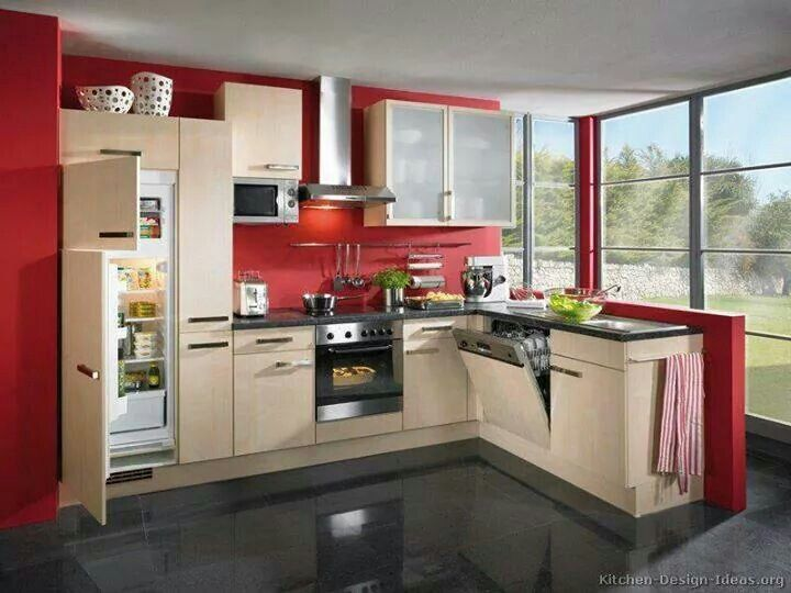 9 Best Cocinas Images On Pinterest  Red Kitchen Kitchens And Delectable Kitchen Design Red And Black Design Inspiration
