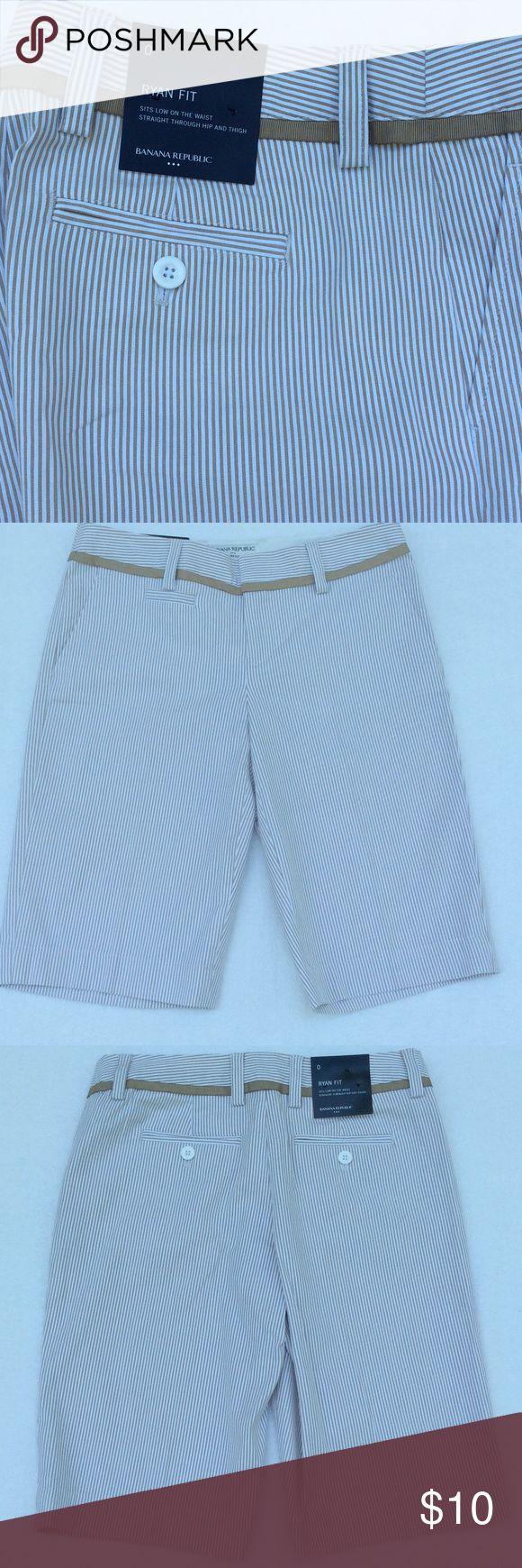 BANANA REPUBLIC PINSTRIPED SHORTS Banana Republic Tan Pinstriped Shorts ➖ Ryan Fit ➖ 97% Cotton 3% Spandex Banana Republic Shorts Bermudas