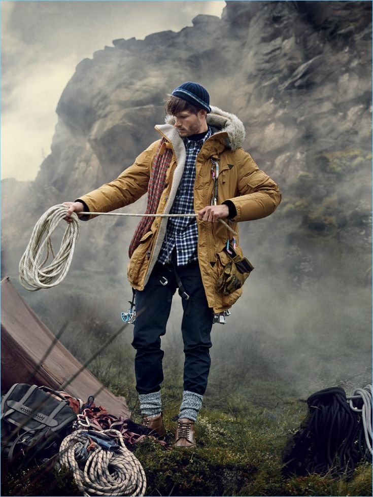 PARAJUMPERS jacket from a selection; AZTECH MOUNTAIN shirt £230; WOOYOUNGMI polo neck £485; FOLK trousers £125; BOGNER hat £140; FALKE socks £17; TOM FORD boots £990