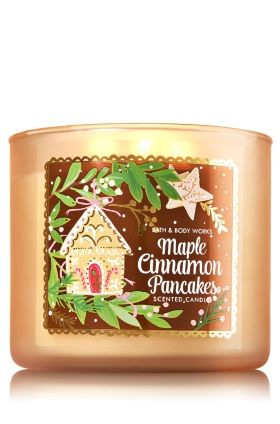 """Maple Cinnamon Pancakes - 3-Wick Candle - Bath & Body Works - The Perfect 3-Wick Candle! Made using the highest concentration of fragrance oils, an exclusive blend of vegetable wax and wicks that won't burn out, our candles melt consistently & evenly, radiating enough fragrance to fill an entire room. Topped with a flame-extinguishing lid! Burns approximately 25 - 45 hours and measures 4"""" wide x 3 1/2"""" tall."""