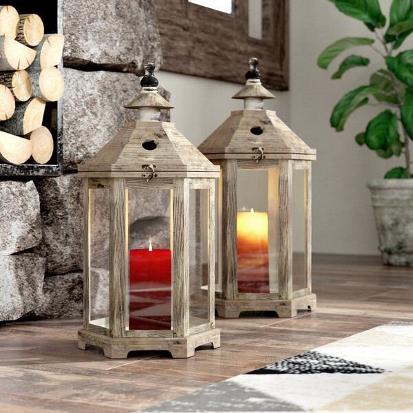 2 Piece Tall Glass And Wood Lantern Set In 2020 Lantern Set Wood Lantern Rustic Wood Lanterns