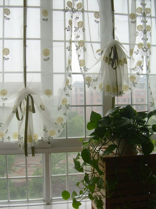French Country Floral Pull Up Balloon Shade Austrian Sheer Voile Cafe  Kitchen Curtain 003