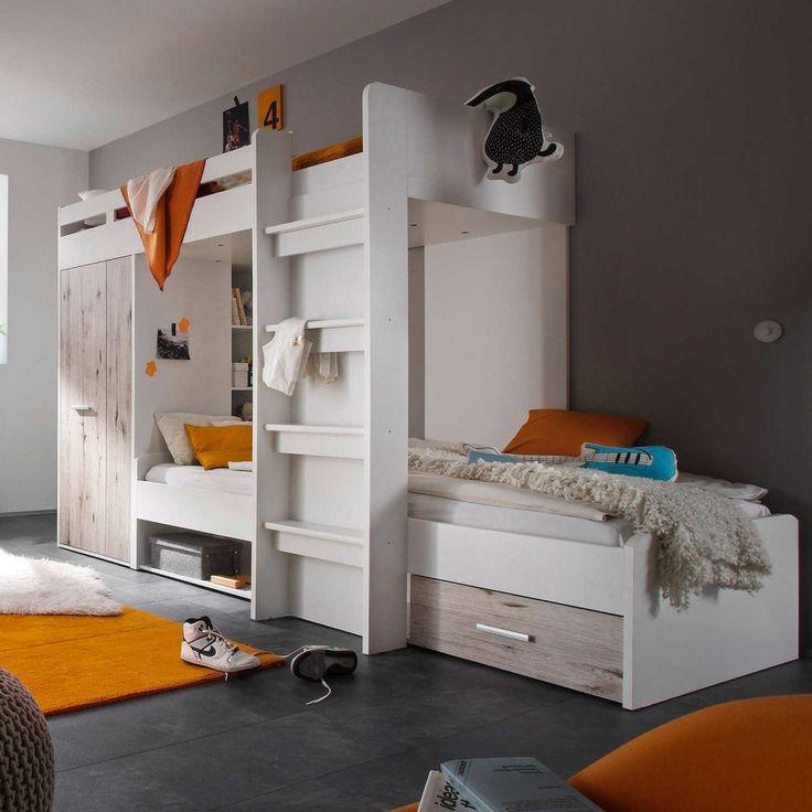 Dieses Moderne Hochbett Bietet Jede Menge Stauraum In Form Von Einem  Schrank Sowie Regalen, Einem Schubkasten Und Mehreren Schubfächern.