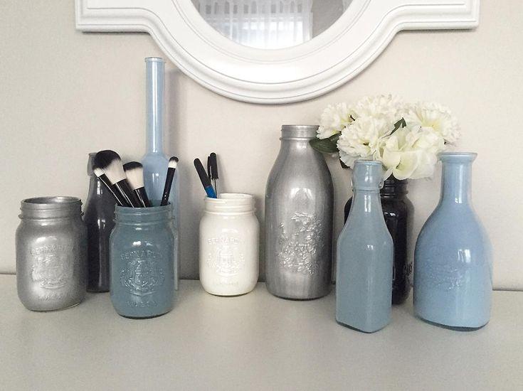 pots décoratifs peinturés bleu DIY facile pas cher