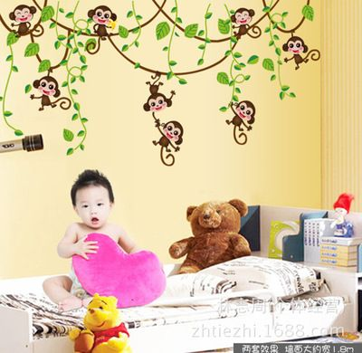 cute mini monkeys vinyl wall stickers decals children animals plants wallpaper mural girls boys kids home bedroom…