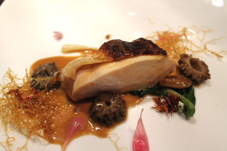 """Hen"" with fried young leeks & morels 