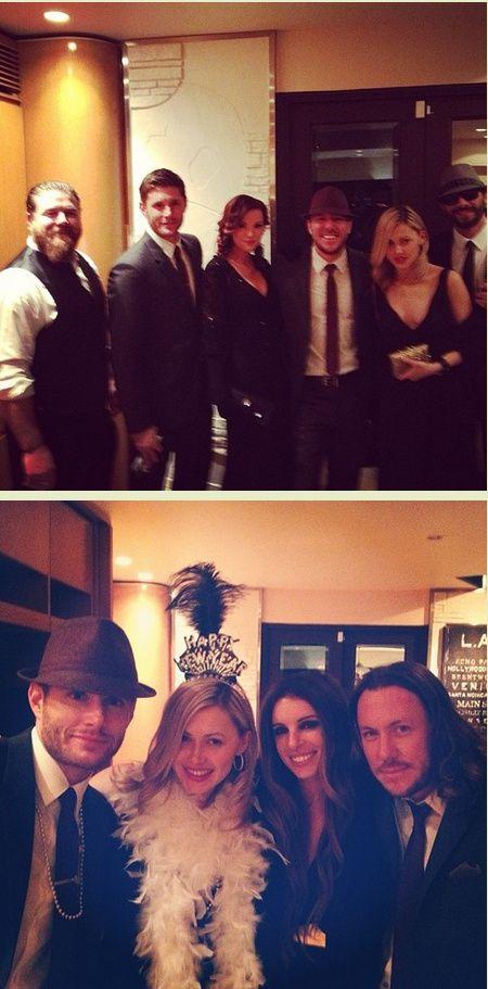 Jensen, Danneel, Steve Carlson, wife Lana--New Year's Eve 2013