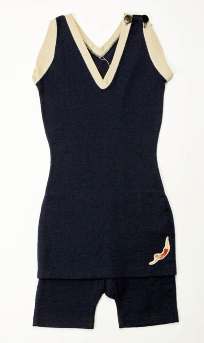 "Jantzen's navy wool bathing suits soon became an ubiquitous sight on the beaches of the 1920s, and Jantzen's ""Diving Girl"" logo became one of the most recognizable brand logos of the early 20th century."