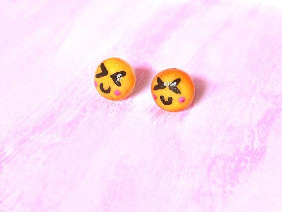 Orecchini emoticon sorriso XD in porcellana perno anallergici ideale per orecchie sensibili modellati a mano, idea regalo, emoji kawaii