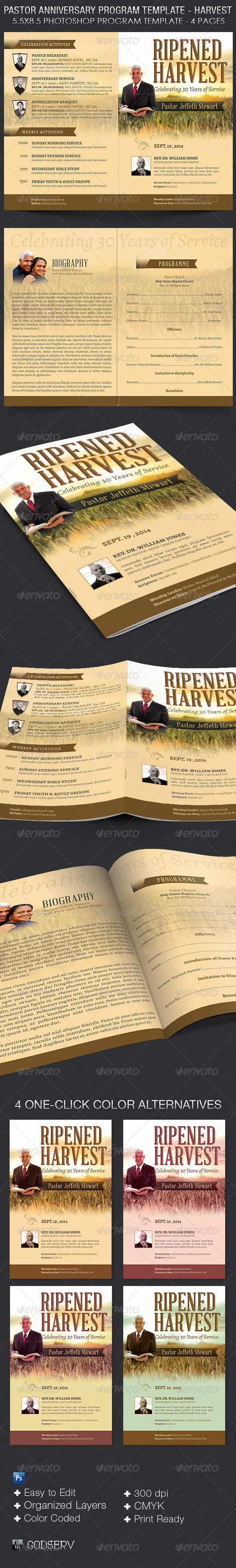 Pastor Anniversary Program Template - Harvest - $7.00 The Pastor Anniversary Service Program Template – Harvest is for church pastor appreciation or anniversary events with an Harvest or Ministry focused theme. Can also be used for funeral program, sunday morning bulletins and more.