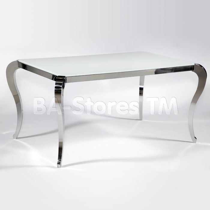 Teresa Glass Dining Table With Cabriole Legs White Glass Dining