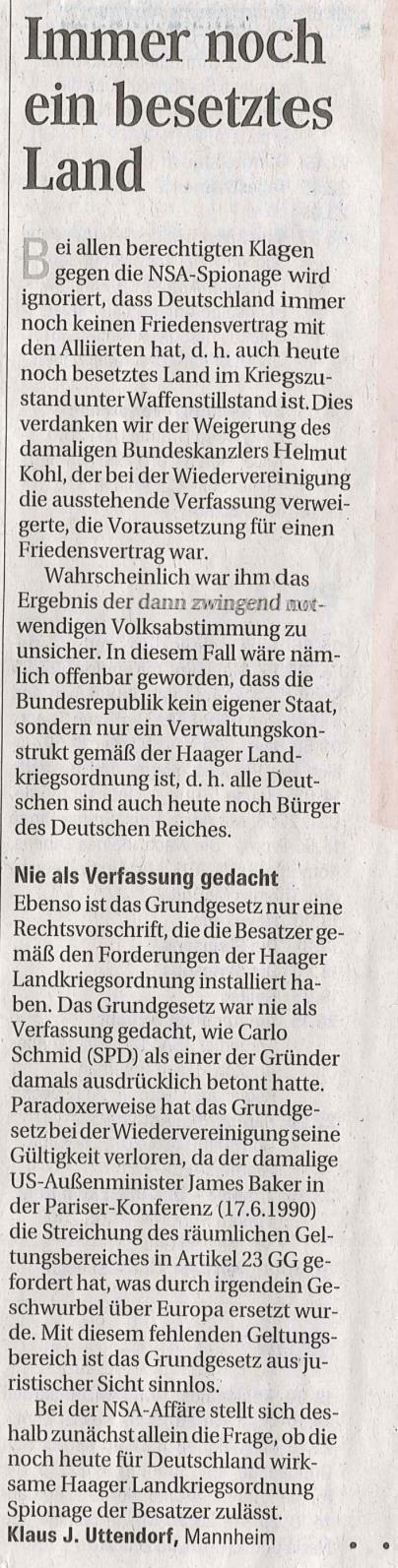 Du Deutscher, ja DU bist Staatsangehöriger des Deutschen Reichs- Pressebericht..Mannheimer Morgen..Ausgabe 25.01.2014 Deutschland immer noch besetztes Land..!!