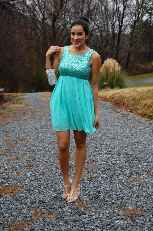 #Blogger Spotlight: for all that jas in a Deb Shops #mint #sequin #dress