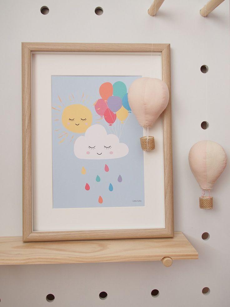 In the sky: balloons, sun, cloud, rain nursery bedroom wall art print.  Art print, modern wall art. by LittleSotty on Etsy