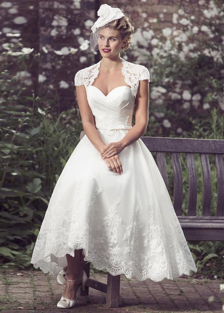 Simple Wedding Dresses, Delicate Satin & Tulle Sweetheart Neckline Tea-length A-line Wedding Dress With Lace Appliques & Detachable Jacket MagBridal