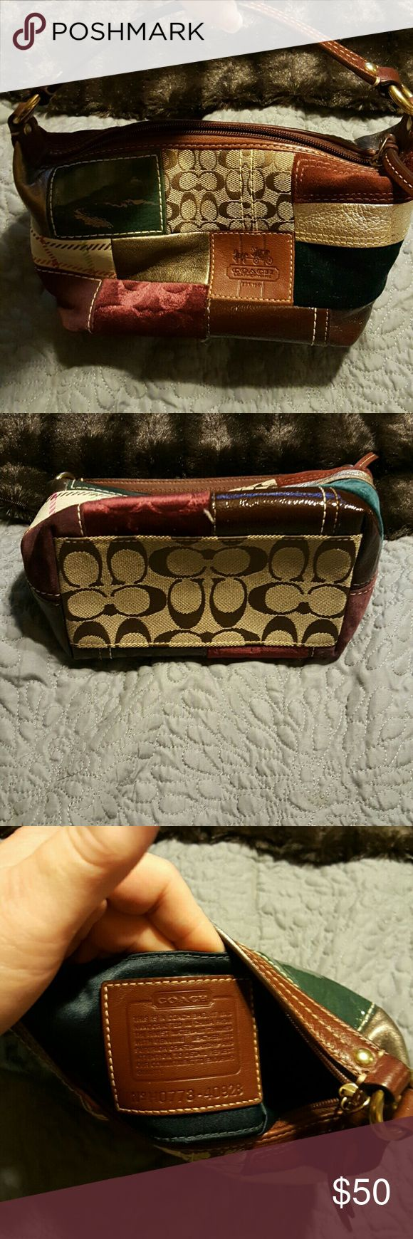 "Coach Hobo ""Holiday"" patchwork Adorable coach Hobo, perfect for a night out. Coach Bags Hobos"