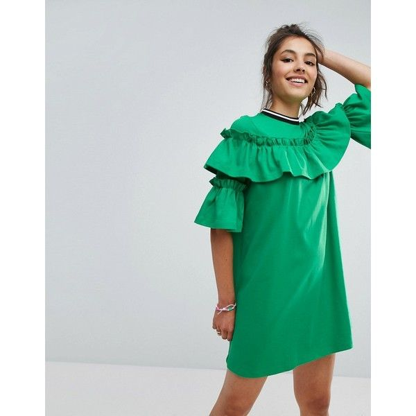 ASOS Mini Tea Dress In Sweat With Frill and Sports Tipping (£38) ❤ liked on Polyvore featuring dresses, green, high neck dress, going out dresses, asos dresses, high neck prom dresses and green prom dresses