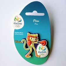 OLYMPIC BADGE PIN 2016 RIO DE JANEIRO BRAZIL MASCOT VINICIUS RUBBER BOXING
